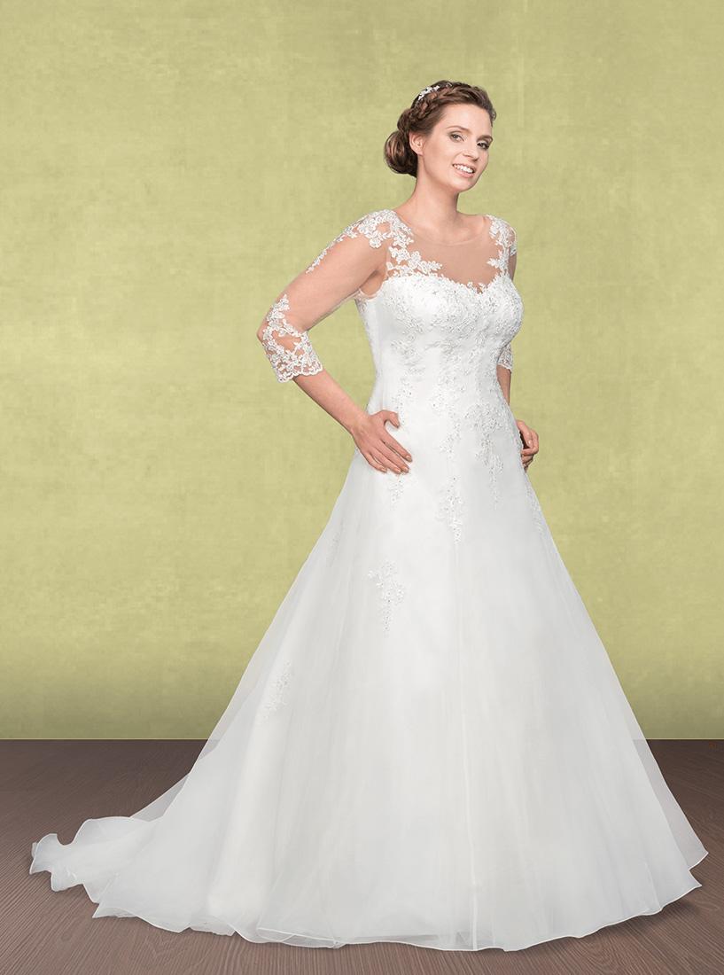 Brautkleid mit ausgestelltem Rock und Spitzenärmel