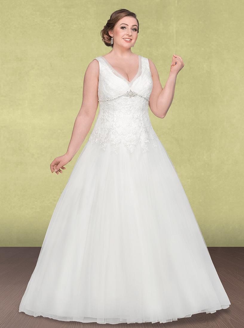 Übergrössen-Brautkleid mit V-Dekolletee