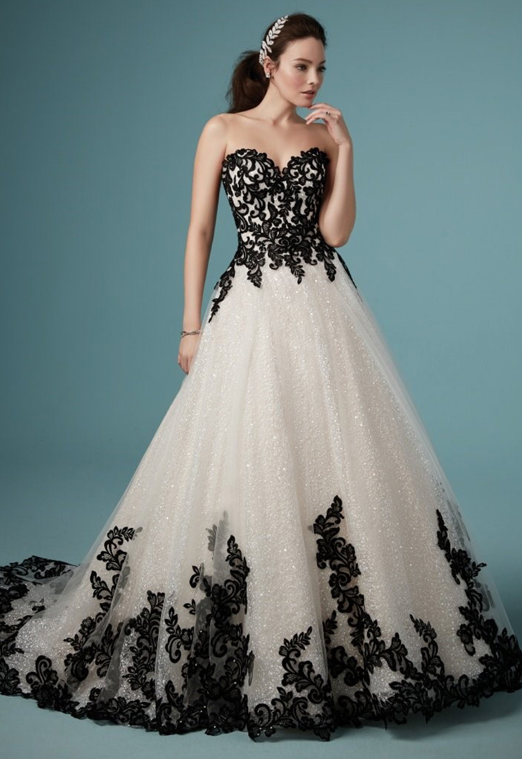 Brautkleid mit Glitzerpailletten schwarze Spitze