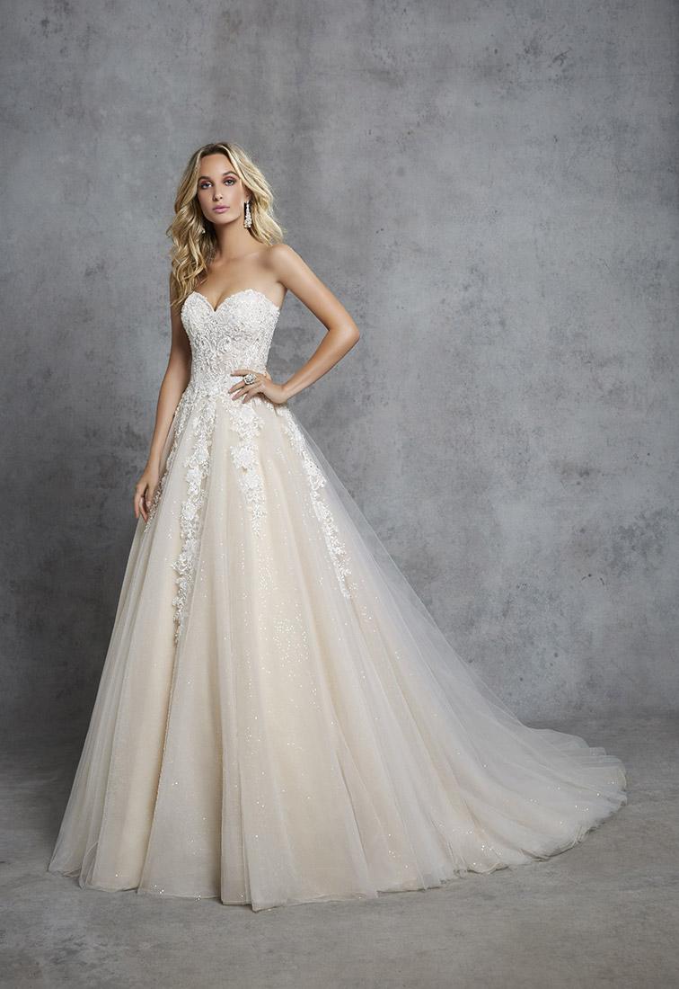 Schulterfreies Brautkleid mit Glitzerpailletten Rueckansicht